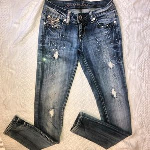 Jeweled Distressed skinny jeans